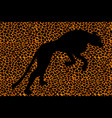 silhouette leopard ocelot or wild cat on repeated vector image vector image