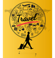 Silhouette people with travel concept vector image vector image