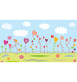 Summer floral background with hearts vector image vector image