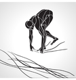 Swimmer At Starting Block Silhouette