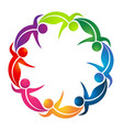 team of dancing leaf figure people logo vector image vector image