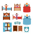wake up different people in bed stretch clock vector image vector image