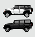 white and black 4x4 off road suv side view vector image