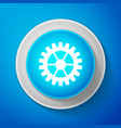 white gear icon on blue background cogwheel sign vector image
