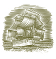 Woodcut Ship vector image