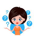 young woman thinking standing under question vector image vector image