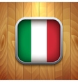 Rounded Square Italian Flag Icon on Wood Texture vector image