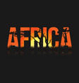 african landscape with trees and sun lettering vector image vector image