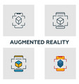 augmented reality icon set four elements in vector image vector image