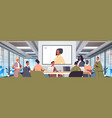 businesspeople having online conference mix race vector image