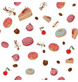 cakes and dessert seamless pattern vector image vector image