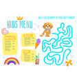 children menu meal template vector image vector image