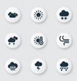 climate icons set with hail sunny temperature vector image