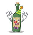 clown wine bottle character cartoon vector image
