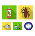cockroach and equipment for disinfection flat vector image