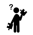 confusion man with puzzle people with question vector image vector image