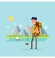 Content tourist with a fishing rod to catch fish vector image vector image