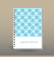 cover of diary or notebook snowflakes pattern vector image vector image