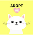 cute cat face line silhouette adopt me pink heart vector image vector image
