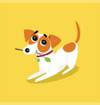 cute jack russell terrier running with stick vector image vector image