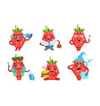 cute strawberry cartoon character set funny fruit vector image vector image