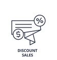 Discount sales line icon concept discount sales