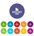 element biology icons set color vector image vector image