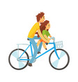 father and daughter riding bicycle vector image