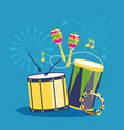 fireworks and musical instruments on blue vector image