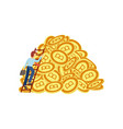 flat bitcoin mining concept vector image vector image