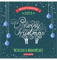 Hand drawn Merry Christmas lettering with a cute