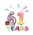 happy birthday sixty one 61 year vector image vector image