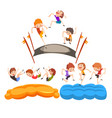 happy kids jumping on trampoline cute boys having vector image vector image