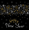 happy new year icons greeting card vector image vector image