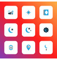 holiday icons colored set with kareem star isha vector image