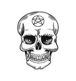 human skull with satanic symbols element magic vector image