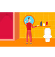 man in pajama brushing teeth rear view guy in home vector image
