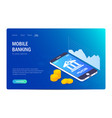 mobile banking web site template currency rate vector image vector image