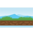 Moountain and grass scenery vector image vector image