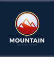 mountain logo design red circle mountain design vector image
