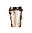 paper coffee cup from a splash of watercolor vector image vector image