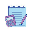 paper notebook with pencil and calculator tools vector image vector image