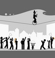 pictogram scene looking up and gesturing vector image