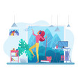 room cleaning with music flat vector image vector image