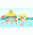 sea bungalow and vacationers people sunbathing on vector image vector image