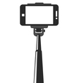 Selfie stick and smartphone with blank screen vector image