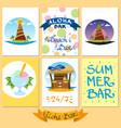 set on a summer theme card beach holidays resorts vector image