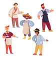 set people who sell or cook food cook seller vector image vector image