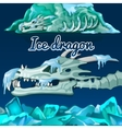 Skeleton of a dragon that was frozen in the ice vector image vector image