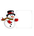 Snowman pointing on a banner vector image vector image
